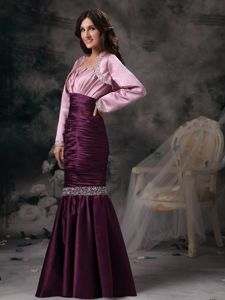 Mermaid Taffeta Beaded Prom Attire with Spaghetti Straps in Purple