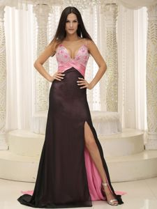 Straps Beaded Ruched Chiffon Formal Prom Dresses in Carrollton TX