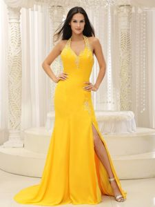 Halter Top Yellow Brush Train Prom Dress with High Slit in Oklahoma