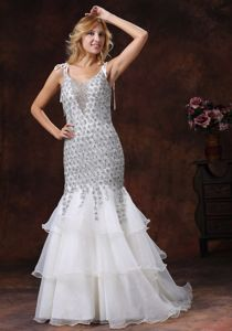 Mermaid Lace Custom Made Prom Dresses with Ruffles in Mesquite