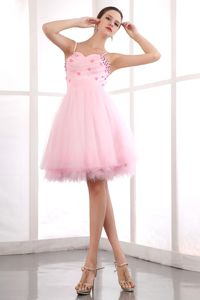 A-line Straps Short Prom Dresses Organza Beading in Pink in Garland