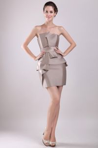 Brown Strapless Mini-length Taffeta Prom Dresses with Bowknot in Garland