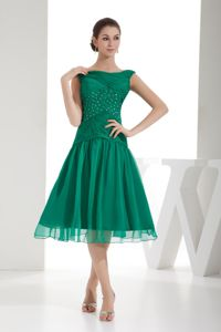 Cheap Bateau Neck Beaded Green Dress for Prom Tea-length in Las Vegas