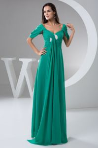 Turquoise Cap Sleeves Floor-length Prom Gown Dress Designers online