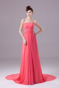 Simple Strapless Chiffon Long Watermelon Red Prom Outfits in Las Vegas