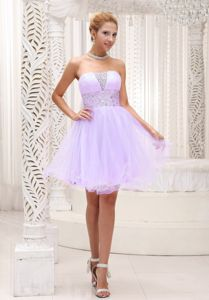 Graceful Lilac Strapless Beading Prom Dress Organza in Brock Lancashire