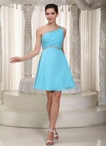 Aqua One Shoulder Prom Dresses with Beaded and Ruched Bodice