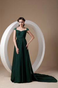 Affordable Dark Green Cap Sleeves Prom Gown Dress Watteau Train