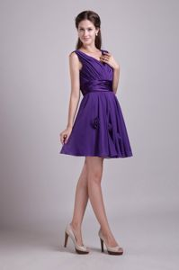 Purple V-neck Mini-length Dress for Prom with Handmade Flowers Online