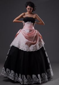 Fast Shipping A-line Light Pink and Black Formal Prom Dress with Lace Hem