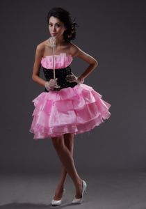 Wholesale Pink and Black Puffy Short Prom Dress with Ruffled Layers