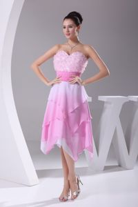Qualified Rose Pink and White Ombre Color Prom Dress with Asymmetrical Hemline