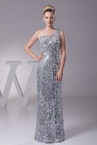 Plus Size Sequin One Shoulder Silver Long Prom Gown in Amsterdam NY