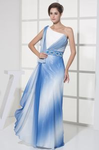 Blue and White One Shoulder Prom Dresses with Beaded Belt in Irving