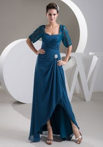 Ruched Teal Semi-formal Prom Dresses with Half Sleeves in Flower Mound