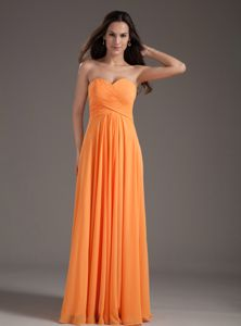 Orange Sweetheart Ruched Long Semi-formal Prom Dress in Flower Mound