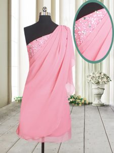 Luxury One Shoulder Rose Pink Chiffon Side Zipper Prom Dresses Sleeveless Beading