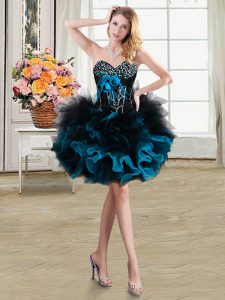 Beading and Ruffles and Hand Made Flower Evening Dress Blue And Black Lace Up Sleeveless Mini Length