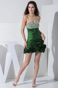 Trendy Beaded Ruched Mini Green Informal Prom Dress with Handmade Flowers