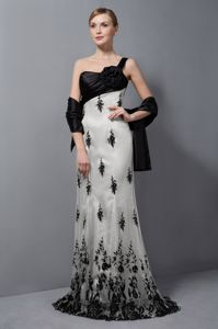 White and Black One Shoulder Long Prom Gown with Appliques for Cheap Price