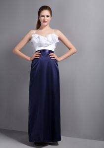Modernistic White and Navy Blue Long Prom Attire with Spaghetti Straps