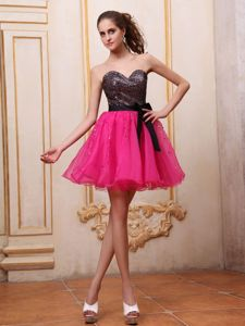 Organza Hot Pink and Black Puffy Short Junior Prom Dress with Sash and Sequins