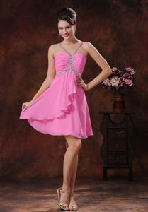 V-neck Pink Short Prom Gown Dress with Beading in Charlottesville VA