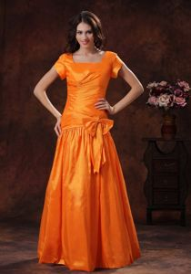 Most Recent Square Neck Short Sleeves Orange Prom Dress with Bowknot
