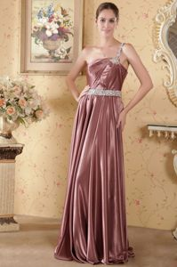 Elastic Woven Satin Beaded Formal Prom Attire in Rust Red One Shoulder