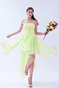 Strapless Ruched Yellow Green Prom Outfits with Asymmetrical Hem under 100