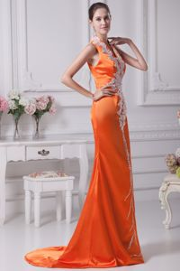 Orange Red V-neck Prom Gowns with White Appliques Brush Train