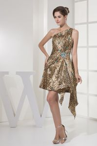 Gold One Shoulder Leopard Beaded Prom Dress with Watteau Train
