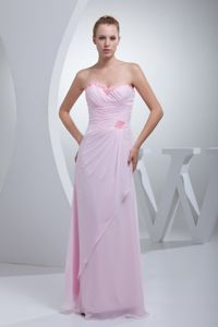 Ruched and Beaded Floor-length Chiffon Prom Gowns in Baby Pink