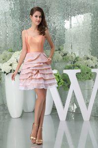 Ruffled A-Line Straps Short Prom Dresses in Pink in Georgetown TX