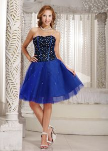 A-line Beaded Brand New Prom Dresses in Blue Tulle in Galveston TX