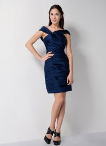 Navy Blue Mini Prom Dress for High Girls with Asymmetrical Neckline