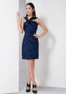 Simple Style Navy Blue Short Semi-Formal Prom Dress for Summer 2014