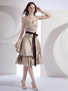 Special Design Spaghetti Straps Gray Prom Dress with Sash in Fayetteville NC