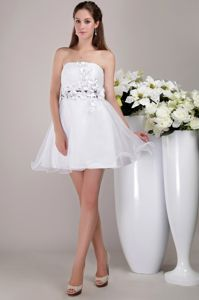 Puffy Organza Strapless White Prom Dress with Floral Embellishment in USA