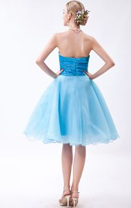 2013 Puffy Organza Strapless Baby Blue Short Prom Dress About 100