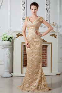 Lace Embroidered Prom Attire with Brush Train in Champagne in Grants Pass