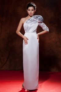 One Shoulder Satin Hand Flowery Informal Prom Dress in Lilac in Cairns