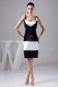 Black and White Prom Gown Dress with Beading and Hand Flowers in Sydney