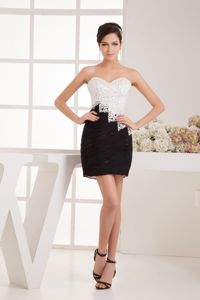 Sweetheart White and Black Mini Ruched Prom Dress with Sequins in Sydney