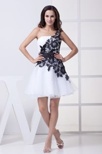 One Shoulder A-line Mini-length White Prom Gown with Appliques and lace