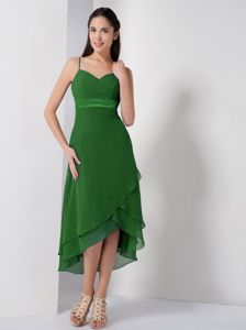 Green High-low Chiffon Dress for Prom with Spaghetti Straps Cheap
