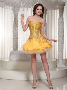 Discount Clearance Yellow Mini-length Prom Gown with Rhinestone
