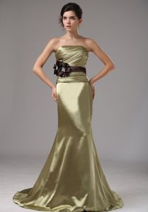 Brush Train Olive Green Prom Gown Dress with Hand Made Flowers
