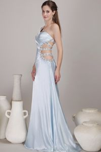 One Shoulder Light Blue Prom Dress with Cut Out Waist North Carolina NC