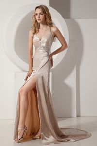 Halter Top Court Train Slitted Beaded Formal Prom Dress in Champagne